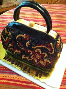 3-D purse cake to resemble a vintage tapestry purse!